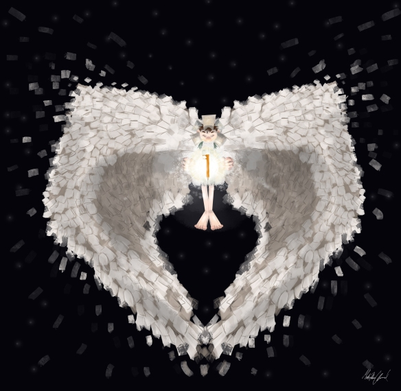 A human floating in the air with white wings made of paper forming the shape of a heart. The human is holding a glowing book.