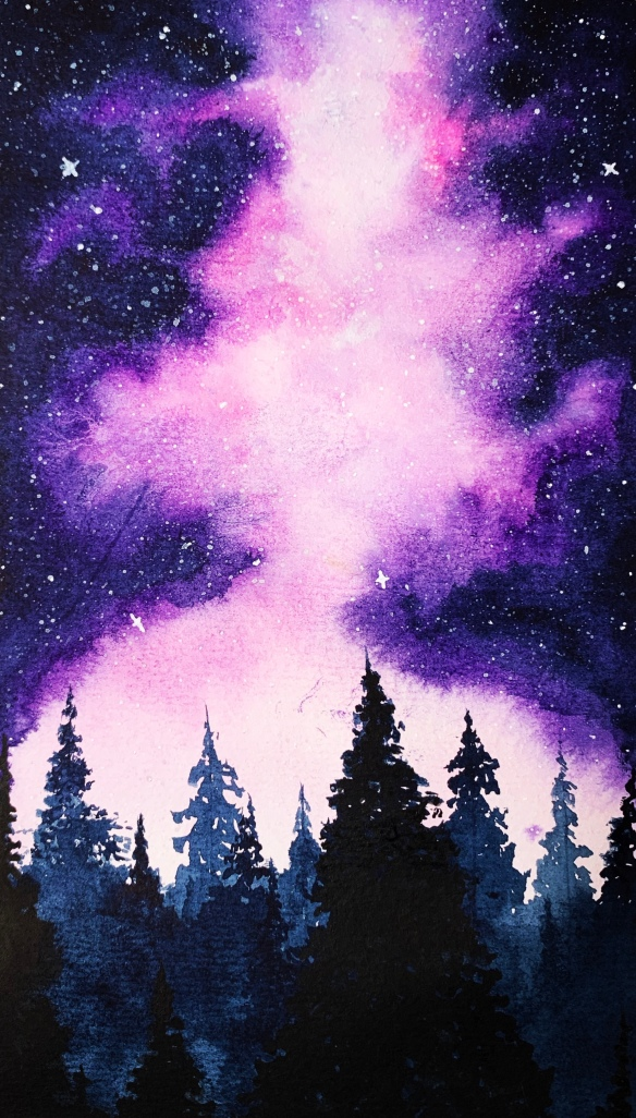 Watercolor of pine forest and northern lights in purple-blue night sky.