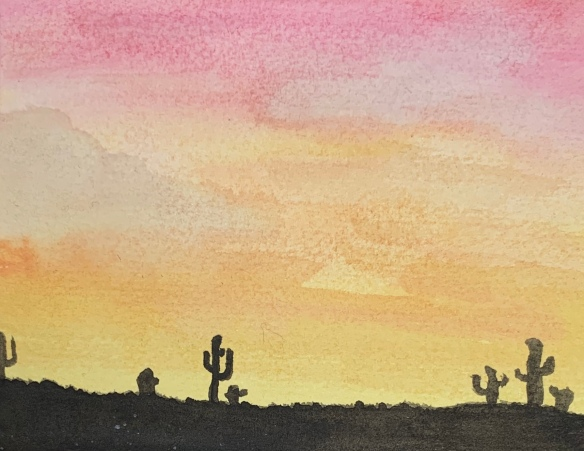 Watercolor painting with orangey-red sky and silhouette of desert with seven cacti.